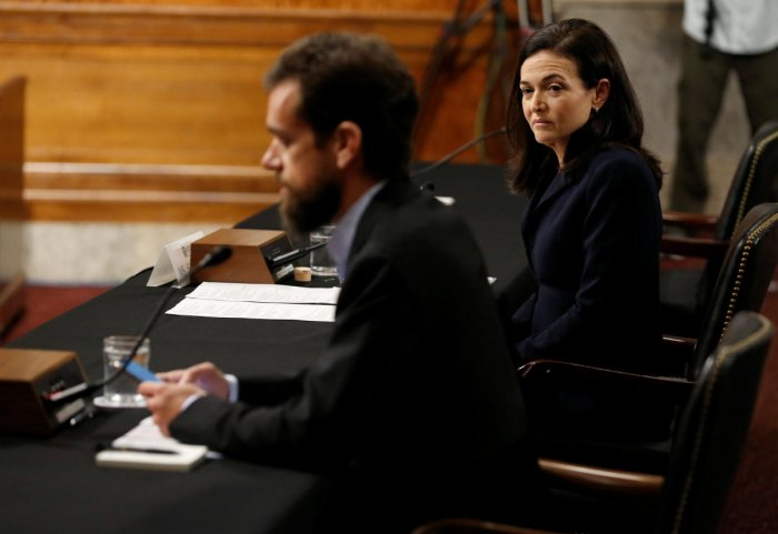 Twitter CEO Jack Dorsey and Facebook COO Sheryl Sandberg testify before a Senate Intelligence Committee hearing on foreign influence operations on social media platforms on Capitol Hill in Washington, September 5, 2018. (REUTERS)
