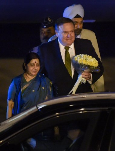 External Affairs Minister Sushma Swaraj with US Secretary of State Mike Pompeo on his arrival at Palam Airforce Station in New Delhi to attend the first-ever 2+2 Dialogue between the two nations. PTI