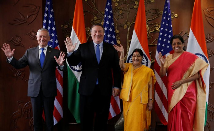 US Secretary of State Mike Pompeo and Secretary of Defence James Mattis pose beside Foreign Minister Sushma Swaraj and Defence Minister Nirmala Sitharaman before the start of their meeting in New Delhi. (Reuters Photo)