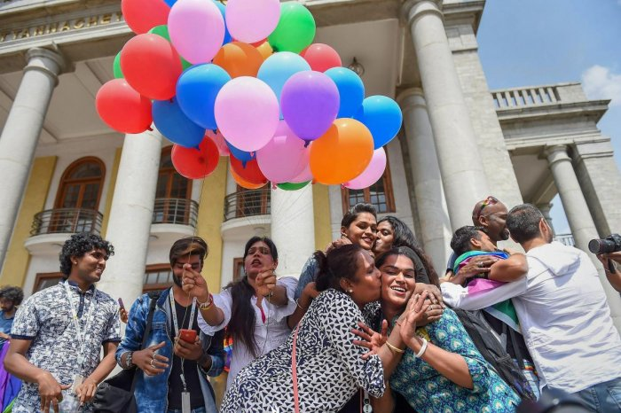 LGBTQ community people celebrate the Supreme Court verdict which decriminalises consensual gay sex, in Bengaluru, Thursday, Sept 6, 2018. (PTI Photo)