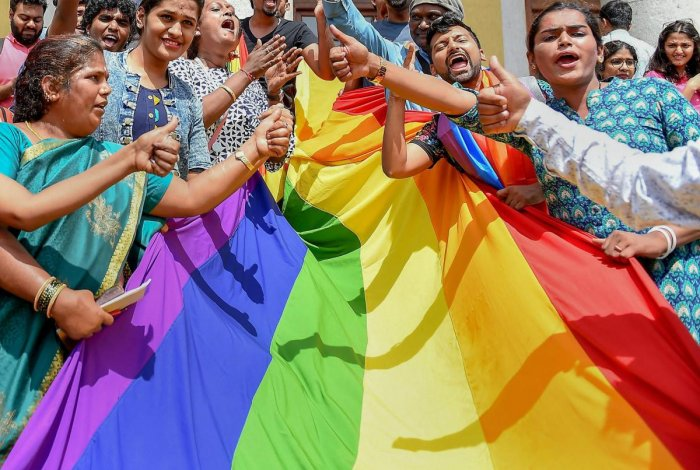 LGBTQ community people, with a rainbow flag, celebrate the Supreme Court verdict which decriminalises consensual gay sex, in Bengaluru, Thursday, Sept 6, 2018. (PTI Photo)