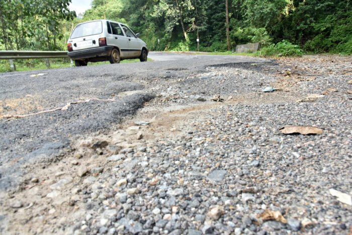 The Sampaje Ghat Road is in a deplorable condition following landslides. Even if it is restored, only light vehicles can move on the stretch. The movement of heavy vehicles on the stretch will take some more time, he added. DH Photo/Janardhan B K