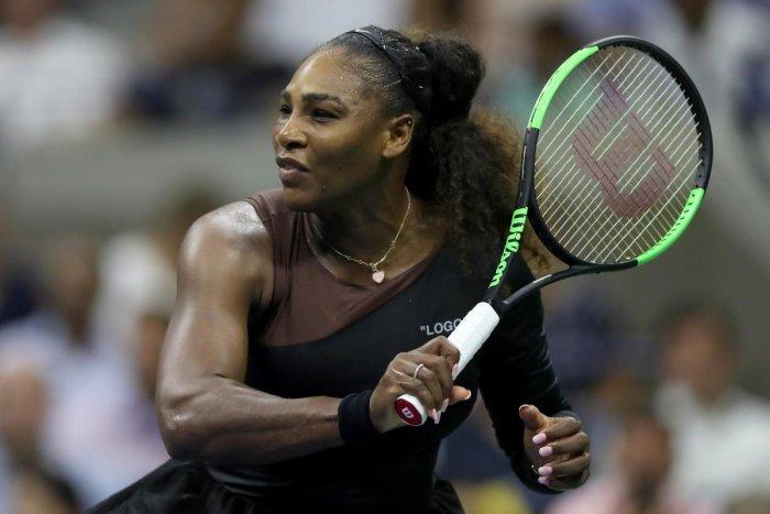 Serena Williams en route to her win over Karolina Pliskova. AFP
