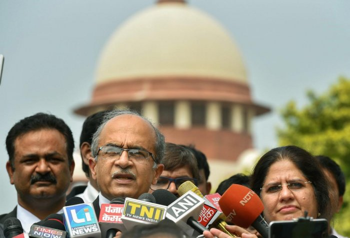 Supreme Court lawyer Prashant Bhushan addresses the media in New Delhi. The Supreme Court extended till September 12 the house arrest of five rights activists in connection with the Bhima-Koregaon violence. PTI