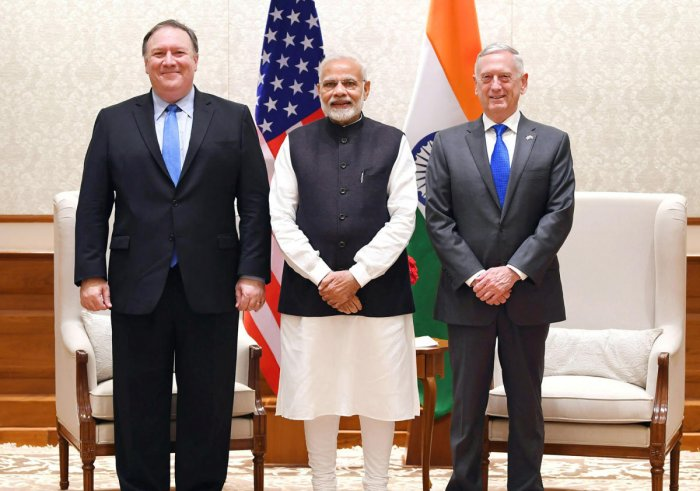 Prime Minister Narendra Modi poses for a picture along with U.S. Secretary of State Mike Pompeo and U.S. Secretary of Defence James Mattis before a meeting in New Delhi. PTI