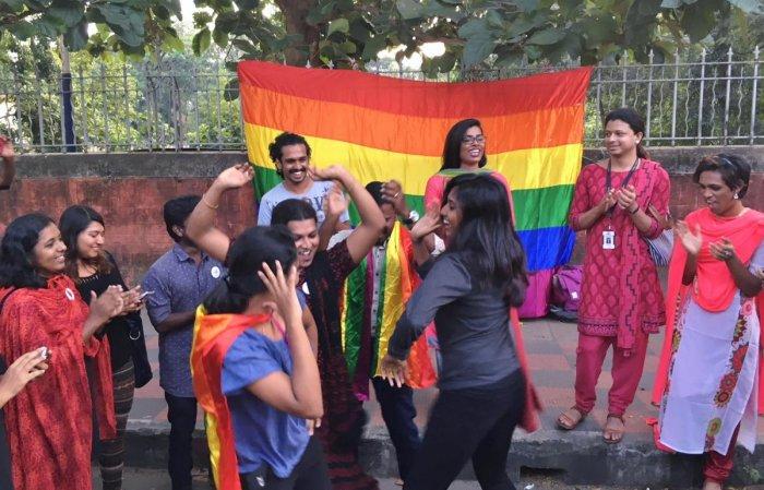LGBTQI activists celebrate in Thiruvananthapuram on Thursday. DH Photo/R Krishnakumar