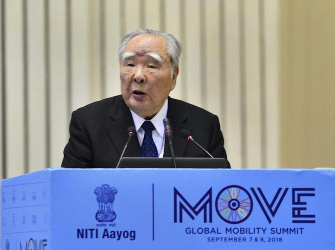 Suzuki Motor Corporation Chairperson Osamu Suzuki addresses at the 'Move: Global Mobility Summit', in New Delhi on Friday. PTI