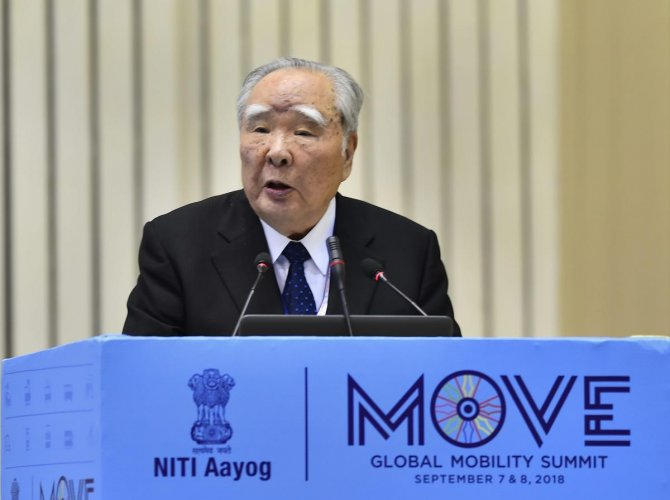 Suzuki Motor Corporation Chairperson Osamu Suzuki addresses at the 'Move: Global Mobility Summit', in New Delhi on Friday. PTI
