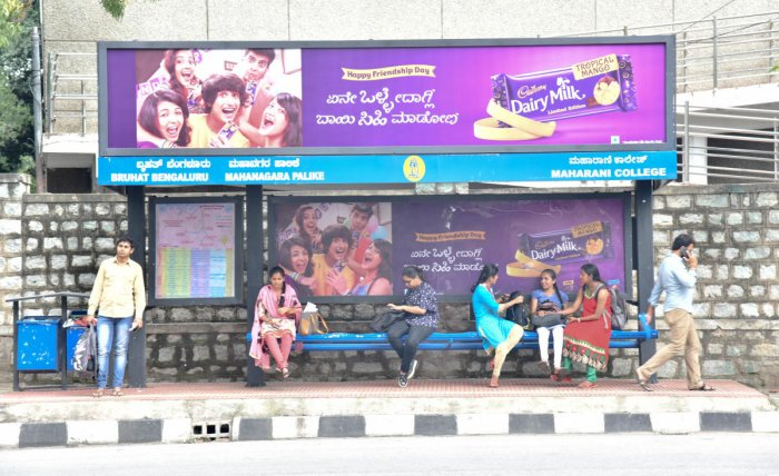 Advertisement seen on Maharani College bus stop Palace road in Bengaluru on Thursday 02nd August 2018. Photo by Janardhan B K
