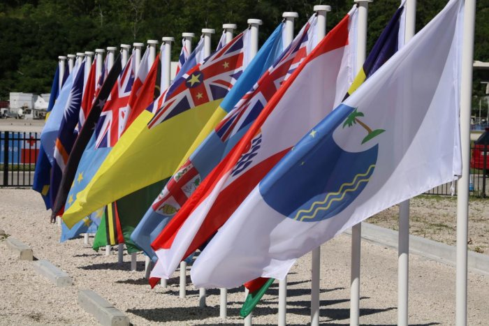 This picture taken on September 5, 2018 shows flags from the Pacific Islands countries being displayed in Yaren on the last day of the Pacific Islands Forum (PIF). AFP