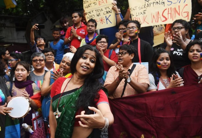 Indian members and supporters of the lesbian, gay, bisexual, transgender (LGBT) community celebrate the Supreme Court decision to strike down a colonial-era ban on gay sex, in Kolkata. AFP file photo