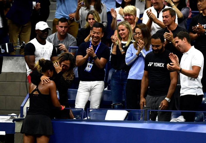 PROUD MOMENT: Naomi Osaka of Japan celebrates with her mother Tamaki Osaka after winning the US Open on Saturday. AFP
