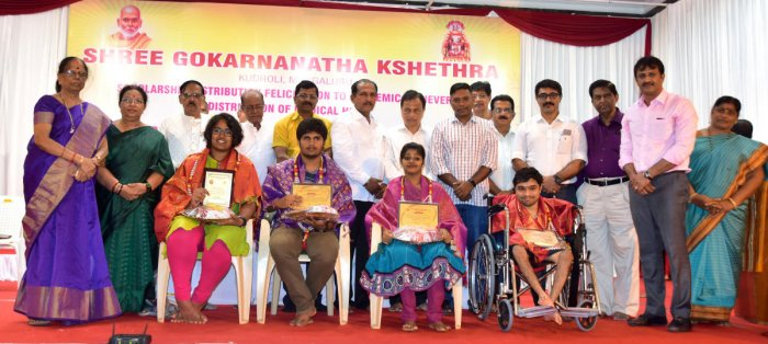 Meritorious students were honoured during the scholarship distribution programme organised by Kudroli Sri Gokarnanatha Temple at the temple premises in Mangaluru on Sunday.