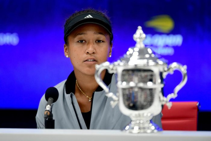 Naomi Osaka of Japan speaks to the media after winning the Women's Singles finals match against Serena Williams of the United States on Day Thirteen of the 2018 US Open at the USTA Billie Jean King National Tennis Center on September 8, 2018 in the Flushing neighborhood of the Queens borough of New York City. Sarah Stier/AFP