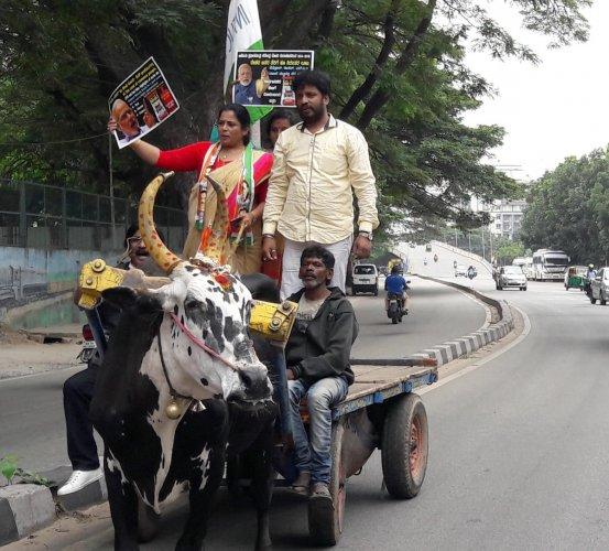 Protestors took bullock cart to protest against price hike in Mejestic in Bengaluru.