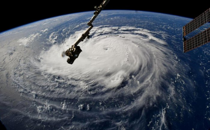 Hurricane Florence is seen from the International Space Station as it churns in the Atlantic Ocean towards the east coast of the United States, September 10, 2018. NASA/Handout via REUTERS.
