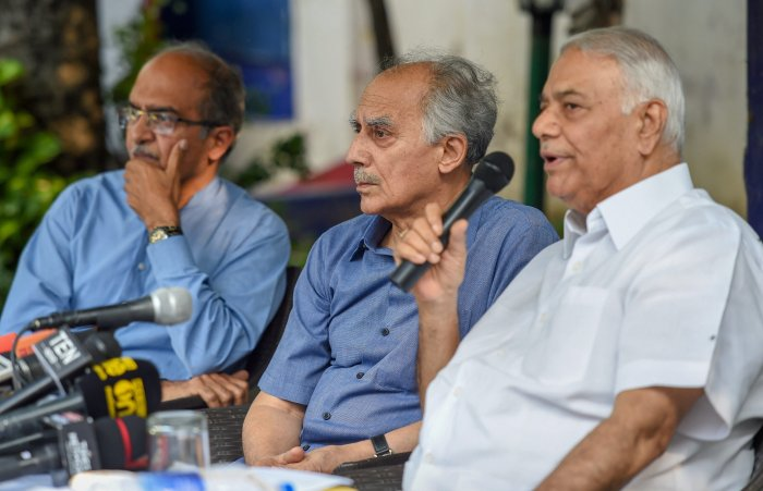 Former union ministers Arun Shourie and Yashwant Sinha with lawyer Prashant Bhushan during a press conference, in New Delhi on Tuesday. PTI