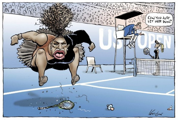 This Mark Knight's cartoon published by the Herald Sun depicts Serena Williams as an irate, hulking, big-mouthed black woman jumping up and down on a broken racket. AP/PTI photo