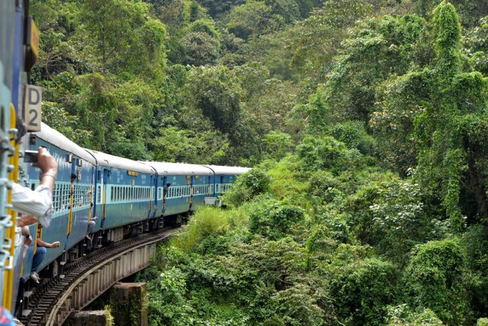 A file photo with the view from a Bengaluru-Mangaluru train. Credit: DH Photo/Anand Bakshi