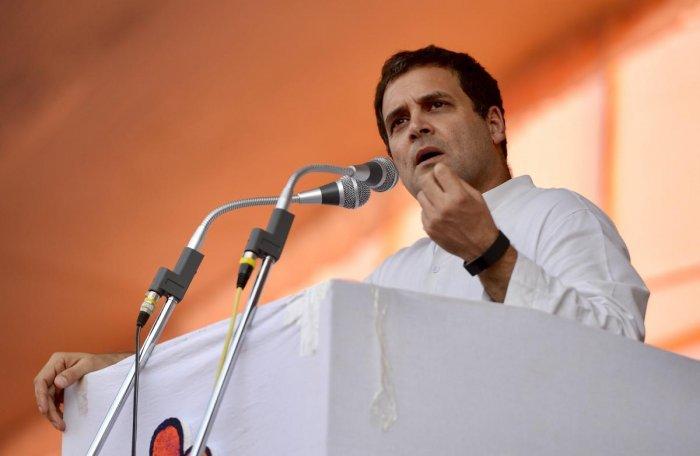 Congress President Rahul Gandhi speaks during Jungle Satyagraha Adivasi Rally at Pendra in Bilaspur, May 17, 2018. (PTI File Photo/AICC)