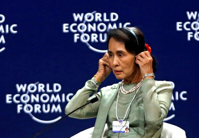 Myanmar's State Counsellor Aung San Suu Kyi attends the New Vision for the Mekong Region session of the World Economic Forum on ASEAN at the Convention Center in Hanoi, Vietnam September 12, 2018. (REUTERS)