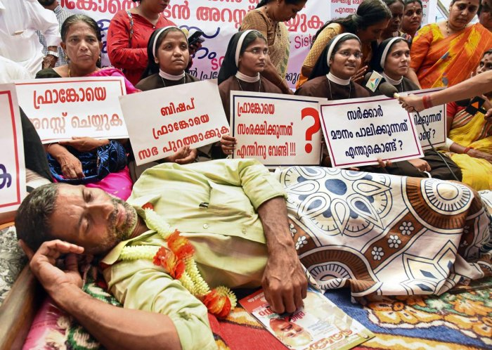 Nuns, supported by the Muslim women, at a protest against the delay in action against a Roman Catholic Church Bishop who is accused of sexually exploiting a nun, in Kochi. (PTI Photo)
