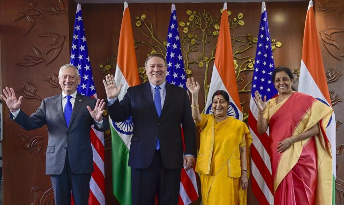 Foreign Minister Sushma Swaraj, Defence Minister Nirmala Sitharaman, US Secretary of State Mike Pompeo and US Secretary of Defence James Mattis pose for a group photo before India-US 2 + 2 Dialogue, in New Delhi, Thursday, Sept 6, 2018. (PTI File Photo)