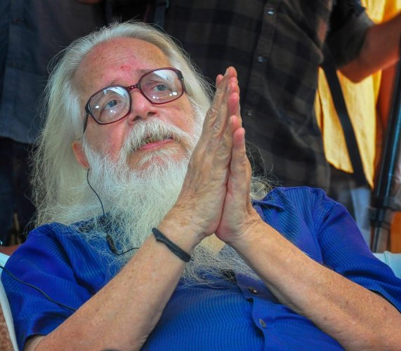 Former Isro scientist Nambi Narayanan speaks to the media, in Thiruvananthapuram. (PTI File Photo)
