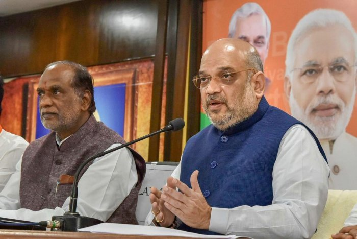 BJP National President Amit Shah addresses the media at BJP State Office, Nampally in Hyderabad. PTI photo