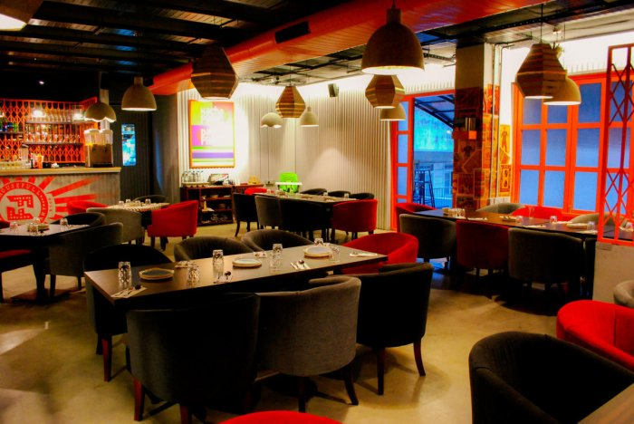 Comfortable seating and a bright decor make 'Housefull' an inviting place.
