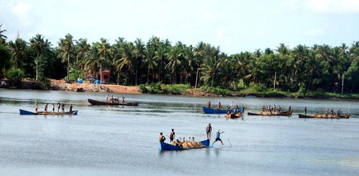 Sand-laden boats in the Gurpur river near Mangaluru. (DH Photo/ Govindraj Javali)