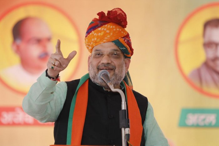 BJP chief Amit Shah, who is on a three-day tour of Rajasthan addressing an OBC sammelan in Pali. (DH Photo)
