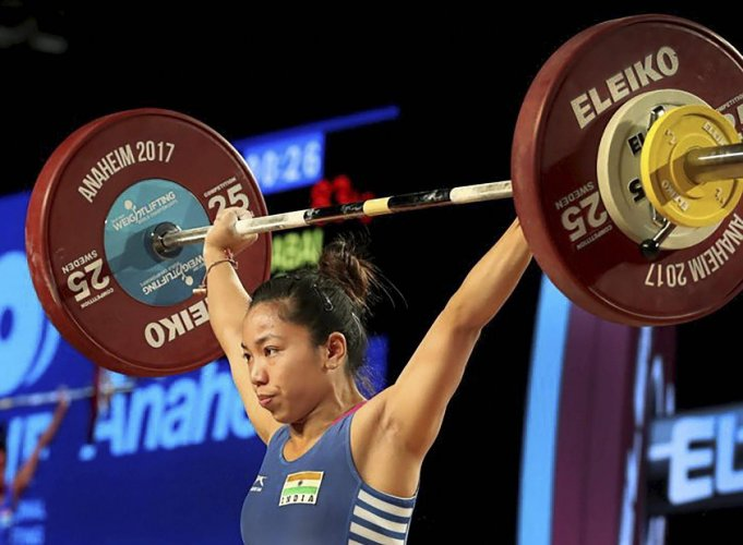 Mirabai Chanu attempts a lift on her way to win the gold medal in women's 48kg category at the World Weightlifting Championships. PTI file photo