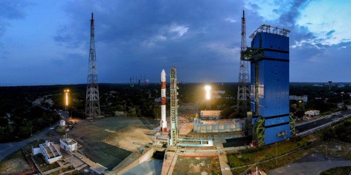 ISRO's PSLV-C42 carrying two earth observing satellites, NovaSAR and S1-4 of Surrey Satellite Technology Limited (SSTL), UK, ready to be launched from Sathish Dhawan Space Centre in Sriharikota, on Saturday. PTI