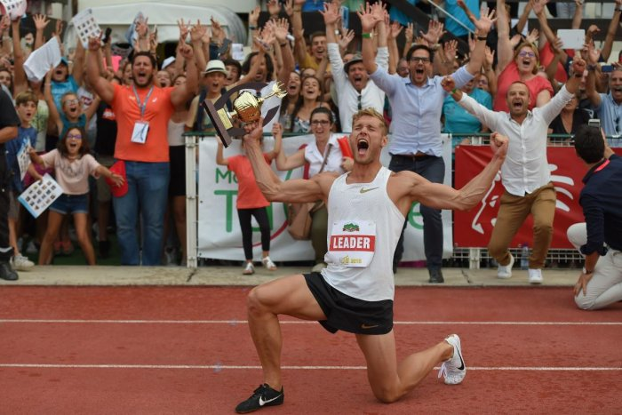 France's Kevin Mayer celebrates with his trophy after setting a new world record in the decathlon during the IAAF 'Decastar' World Combined Events Challenge in Talence, France on Sunday. AFP