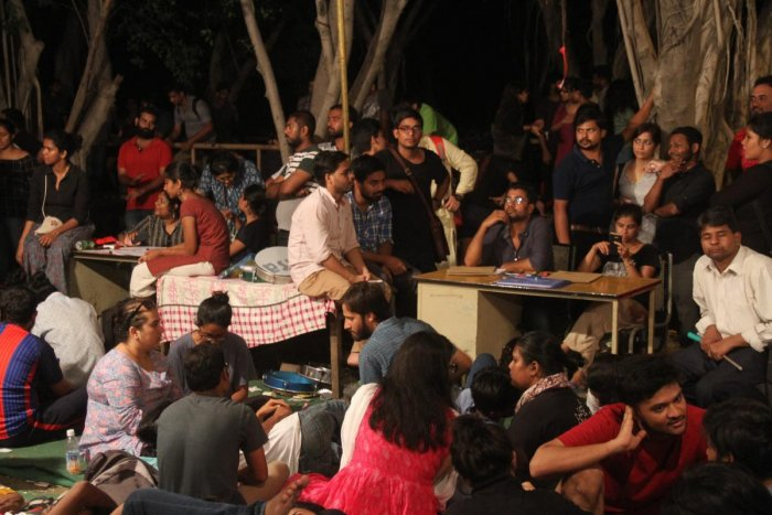 Students at in front of Counting centre in JNU campus before JNU election result 2018. PTI file photo.