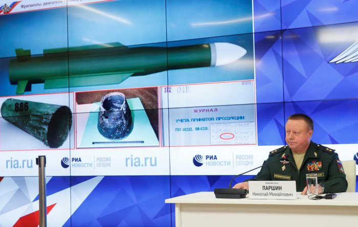 Russia's defence ministry Chief of the Main Rocket and Artillery Department Lt. Gen. Nikolai Parshin attends a press briefing dedicated to the crash of the Malaysia Airlines Boeing 777 plane operating flight MH17 in Moscow on September 17, 2018. AFP