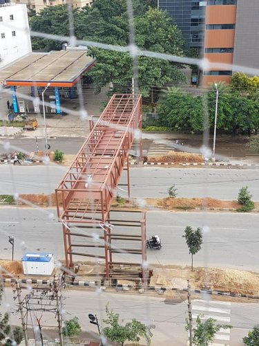 The skywalk sanctioned nine months ago on the Outer Ring Road near Bellandur is yet to be completed. (Special arrangement)
