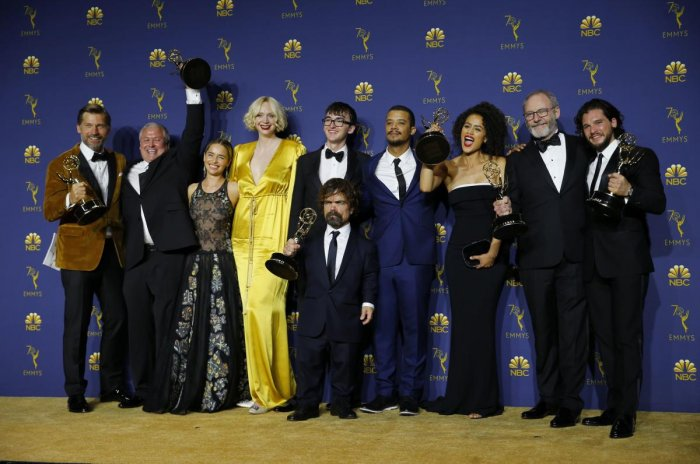 """HBO's record-breaking fantasy epic """"Game of Thrones"""" stormed back onto the Emmys stage on Monday, winning the coveted best drama series prize on a night full of surprises. Reuters Photo"""