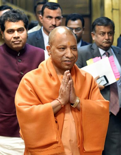 As Adityanath reached the accident spot after visiting the district hospital, an angry crowd raised slogans against railway and local authorities. PTI File photo