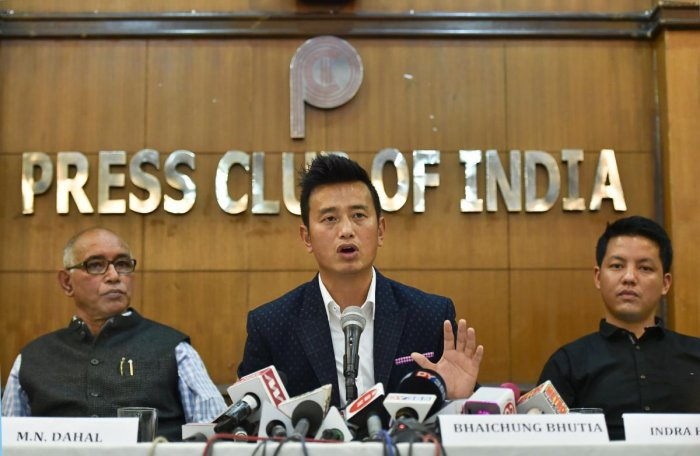Former Indian football team captain Bhaichung Bhutia speaks during the launch of his political party 'Hamro Sikkim' during a press conference in New Delhi on Thursday. PTI Photo