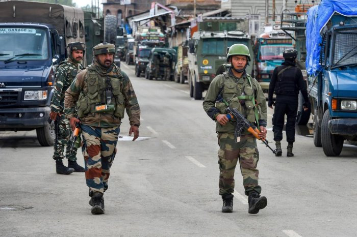 Army soldiers during an encounter with the militants at Khudwani in Kulgam district of south Kashmir. PTI File photo