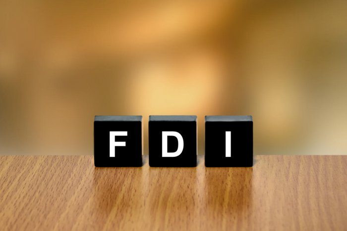 FDI or Foreign direct investment on black block with blurred backgroundFDI
