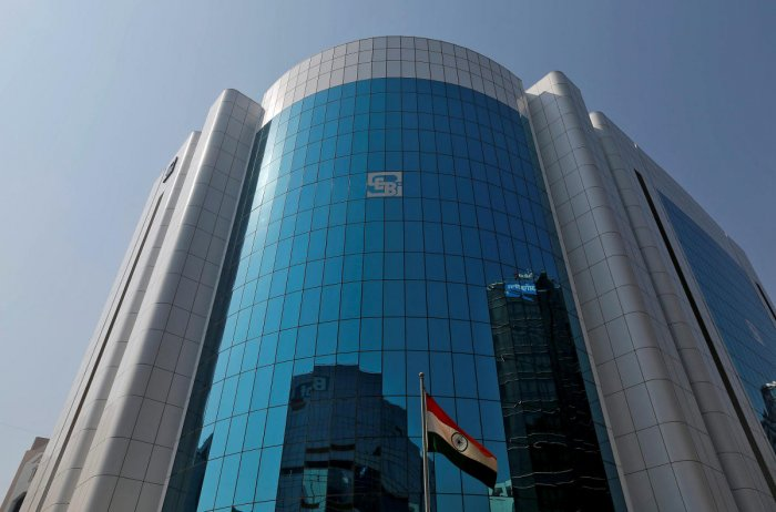 The logo of the Sebi is seen on the facade of its headquarters in Mumbai. REUTERS
