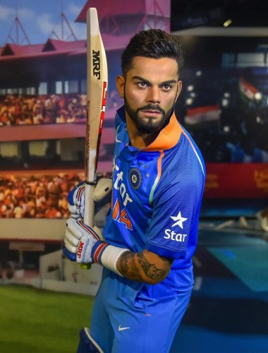 ICONIC STANCE The wax figure of Virat Kohli was unveiled at Madame Tussauds Museum in New Delhi on Wednesday. PTI