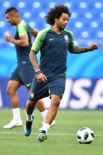Brazil defender Marcelo always runs onto the pitch right foot first. AFP
