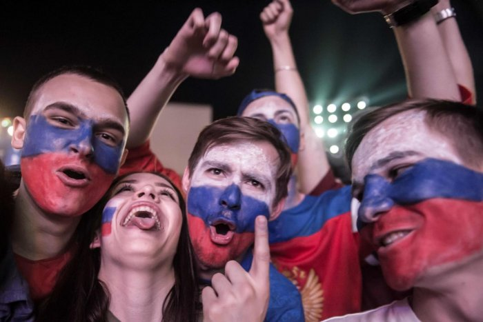 Russian football fans celebrate their team's victory against Egypt at the Fan Zone in Rostov-on-Don on June 19, 2018. AFP