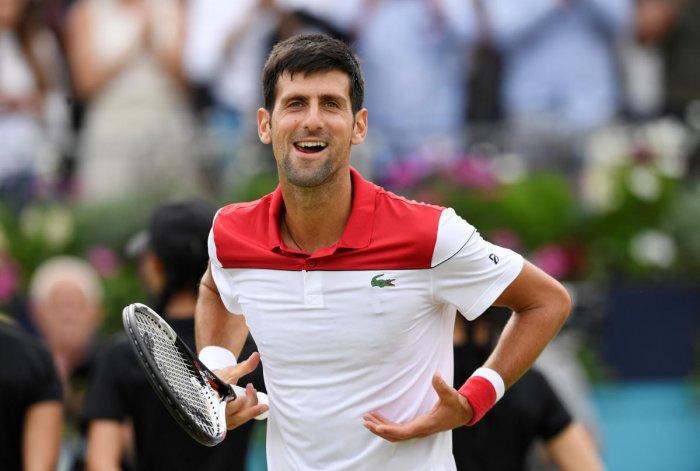 Serbia's Novak Djokovic celebrates winning his semi final match against France's Jeremy Chardy. (Reuters Photo)