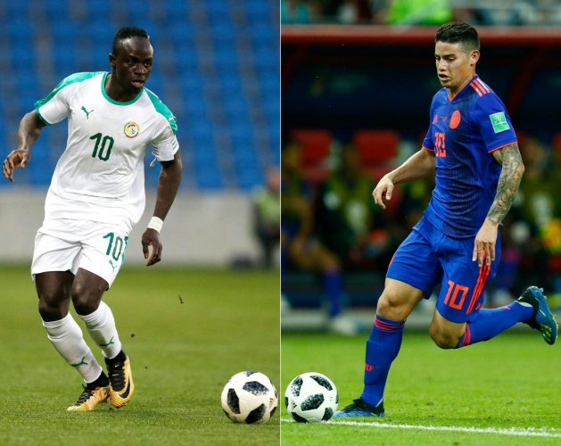 KEY MEN: Senegal's Sadio Mane (left) and Colombia's midfielder James Rodriguez will be looking to inspire their sides in the all-important Group H clash on Thursday. AFP
