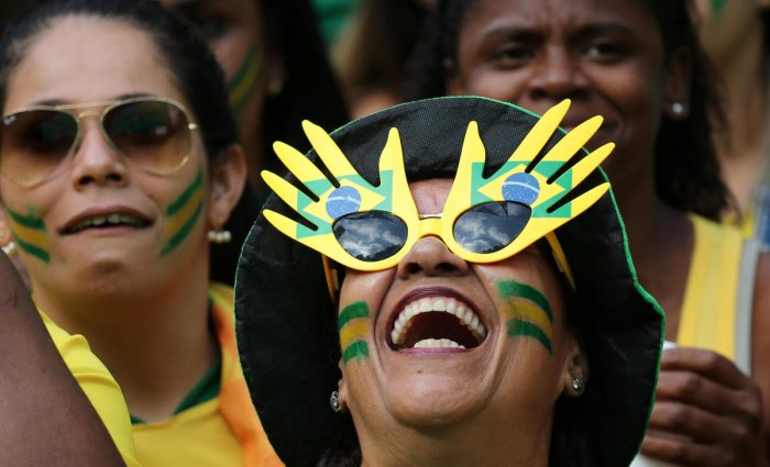 A Brazilian fan reacts during the game against Serbia, in Rio de Janeiro. (Reuters)